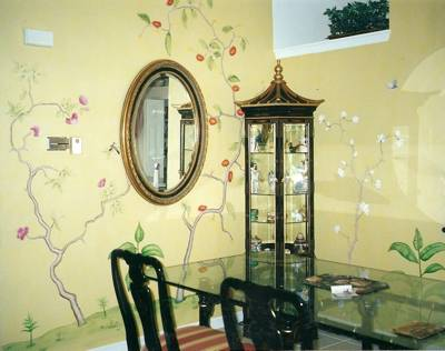 Wall painting in an Asian dining room