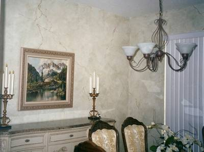 Faux painting in a dining room