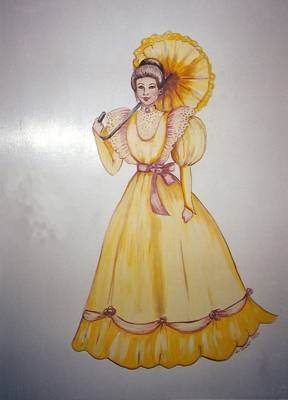 Mural of woman with parasol