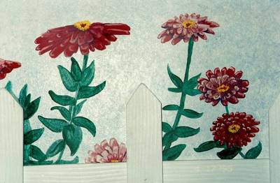 Mural featuring zinnias with a real wood fence