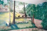 Cabin portrait mural with bears