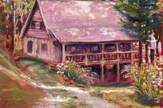 Pastel portrait of North Carolina cabin